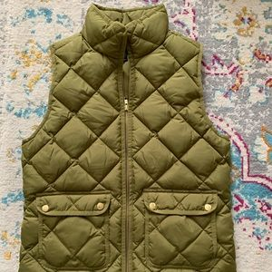 Olive Quilted Excursion Vest from JCrew